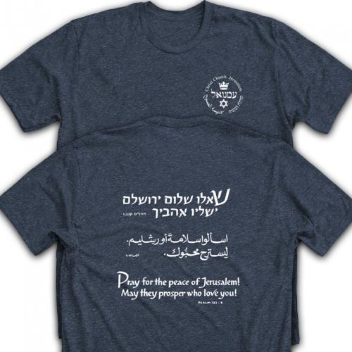 Heathered blue T-shirt with text of Psalm 122:6 on the back.