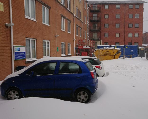 Snow in our car park