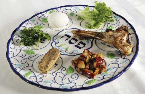 A Passover Seder plate with all the symbolic foods