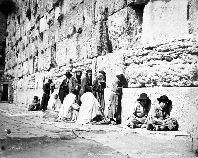 Jewish people at the Western Wall (1870s) by Felix Bonfils