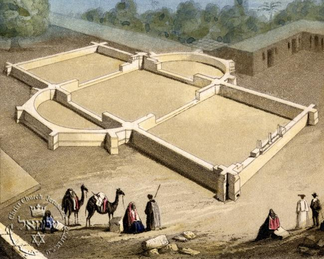 Artist's rendering of the foundations of Christ Church Jerusalem, which were laid 10 February 1840 by Rev. John Nicholayson and architect William Curry Hillier. Image from the Conrad Schick Library and Archives.
