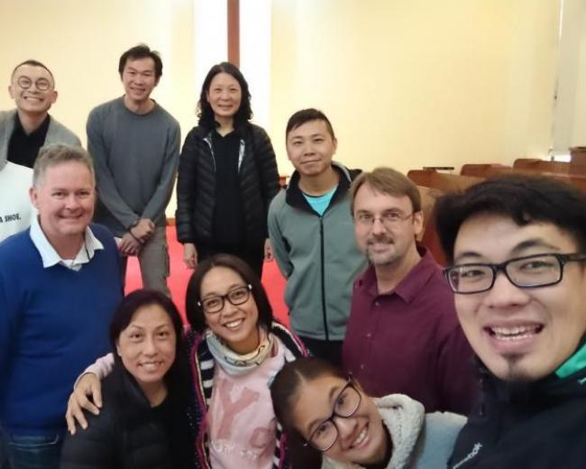 CMJ Team at Fanling Tsung Kyam Church, Hong Kong with local pastors
