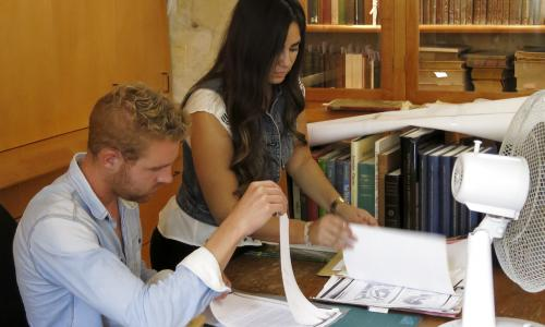 Studying in the CMJ Heritage Centre, Jerusalem